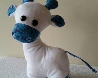 Gerald the Giraffe, soft toy, softie, stuffed toy, kids gifts, nursery decor, Tula Pink fabrics, Australian handmade