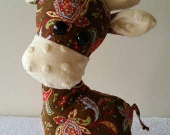 Gerald the Giraffe, soft toy, softie, stuffed toy, kids gifts, nursery decor, floral print, Australian handmade