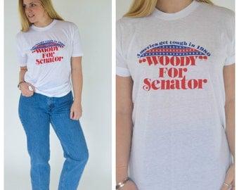America shirt / 1980s t shirt / Retro shirt / Vintage white tee /  Vintage t shirt / Retro clothing / Medium