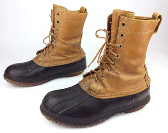 L.L. LL Bean Maine Hunting Shoes Insulated Leather Rubber Snow Rain Boots Freeport USA Sz. 10