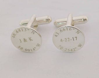 Latitude longitude Wedding Cufflinks,Engraved Coordinates Cufflinks,Personalized Initials and Date Cufflinks,Anniversary Date Cufflinks