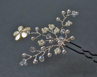 Bridal hair pins, wedding hair pins, bridal hair piece, wedding hair piece, flower hair pin, crystal hair pins, silver hair pins, ivory pins