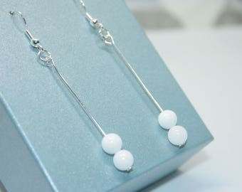 White Jade Earrings, Gemstone Jewelry, Gift For Her, Long Drop Earrings, Sterling Silver Earrings