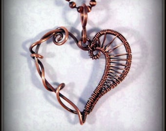 Copper Heart Pendant, Wire Wrapped Copper Heart Necklace, Wire Woven Heart Pendant, Heart Jewelry, Wire Wrapped Jewelry, Copper Jewelry