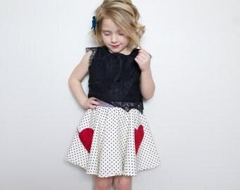 girls valentine skirt. valentines day. red heart. girls skater skirt. black and white polka dot