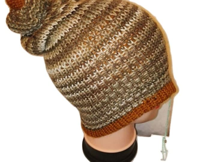 Gold  Brown Cream colour mix Handmade beanie slouch bobble hat double knit extra thick #retro #handmade #knitwear