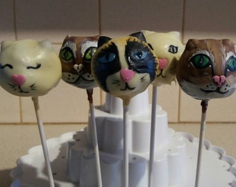 Kitty Cake Pops (4) / Four Cat Themed Chocolate Cake Pops / Gift for Cat Lover / Quirky Gift for Cat Lady