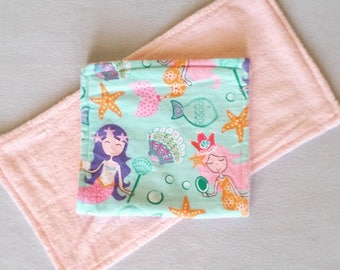 Mermaid Burp Cloth, Flannel Burp Cloth, Reusable Burp Cloth, Baby Shower Gift, New Baby Gift, Fantasy Burp Cloth, Nautical