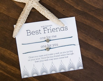 Best Friend Wish Bracelet, Friendship Bracelet, set of two bracelets, Make a Wish, Gift for Best Friend, Girl Present, Flower, Custom Gift