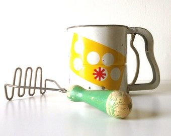 Vintage Kitchen Tools - Potato Masher With Wooden Green Handle & Androck Flour Sifter
