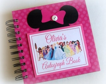 Pink PERSONALIZED  Disney Autograph Book Scrapbook Travel Journal Vacation Photo Book