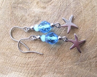 Starfish earrings stainless steel glass turquoise