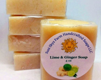 Lime and Ginger Soap - Ginger and Lime Soap - Artisan Ginger Lime Soap - Handcrafted Ginger Lime Soap - Artisan Lime and Ginger Soap