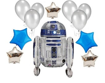 12 Piece Set R2D2 Foil Balloon for Star Wars Birthday Decoration with Silver and Blue Balloons