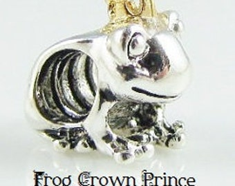 Authentic Sterling Silver Stamped S925 Ale FROG CROWN PRINCE ~ European Charm Fits Big Hole / Large Hole / Pandora /Bracelets / Necklace
