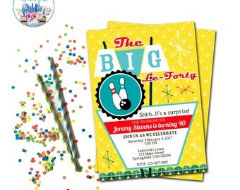 The Big Lebowski Invitation, The Big Lebowski Birthday Party Invite, Bowling Party Invitation