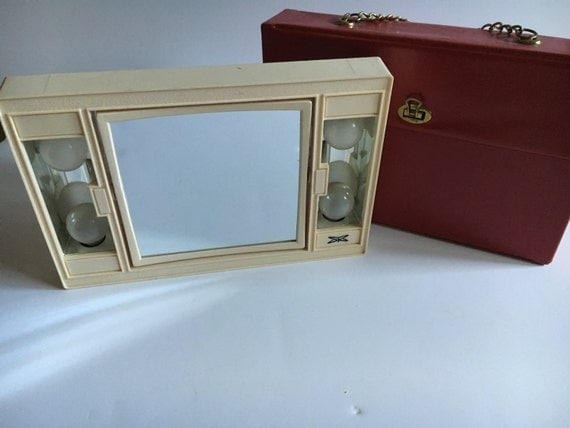 Vanity Mirror With Lights Sears : Vintage vanity mirror with lights and red carrying case Sears