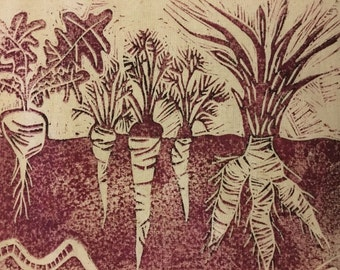 Handprinted linocut of allotment veg