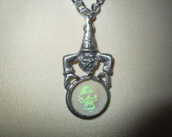 """Pewter Wizard w/ Skull Hologram Necklace Silver Aluminum Chain 21"""""""