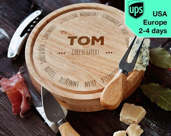 Cheese Expert - personalised Cheese board, Laser Engraved custom serving board