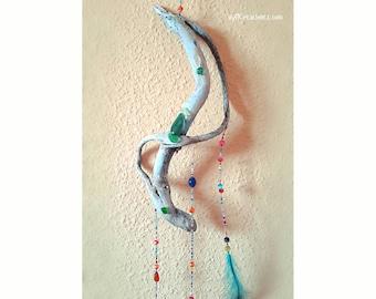 Decorative Mobile. Sea-Wood. Hippie Decor. Boho decoration. Mobile pens. Decorative wood. Wall ornament. Driftwood Mobile