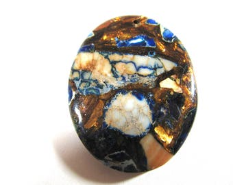 Jasper pendant, Impression Jasper, 45x46mm, Sea Sediment, blue, copper, beige, brown, Jewelry supply B-1788