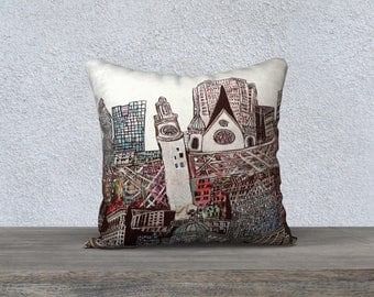 ART Print Cushion cover - Pillow Case from the painting the Tower of time in Montreal, Mélanie Bernard