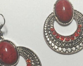 Red Crystal Tibetan Silver Dangle Earrings ON SALE