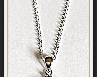 White Fire Opal Turtle Pendant Necklace