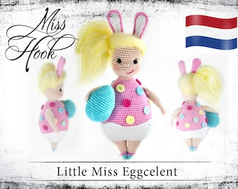 "Haakpatroon voor de pop ""Little Miss Eggcelent"" easter bunny egg eBook PDF (dutch)"
