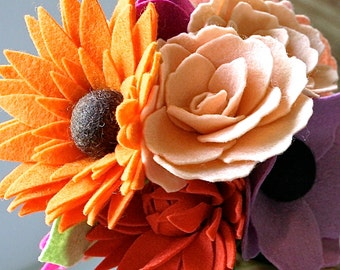 Felt Flower Bouquet - Wedding Bouquets- Home Decor - Floral Home Decor - Spring Flower Bouquet - Spring Home Decor - Wedding