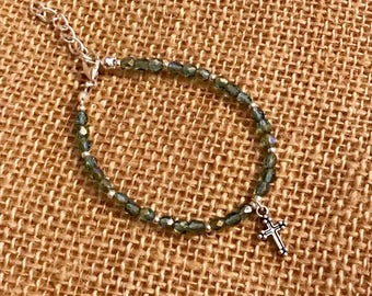 Green Beaded Bracelet - Cross Charm