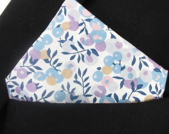 "Pocket square hankerchief in grey/ purple and blue  ""Wiltshire Berries"" Liberty print"
