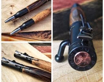 Wood Bullet Pen Hand Crafted Wood, Oak, Tiki, Cedar, or Burnt Oak; Silver Gold Gunmetal or Matte Black, Custom Made to Order, Military Gift