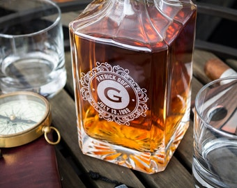 Groomsmen Gift, Whiskey Decanter, Engraved Whiskey Decanter, Personalized Decanter Set With 2 Glasses, Gift For Men, Wedding Gift