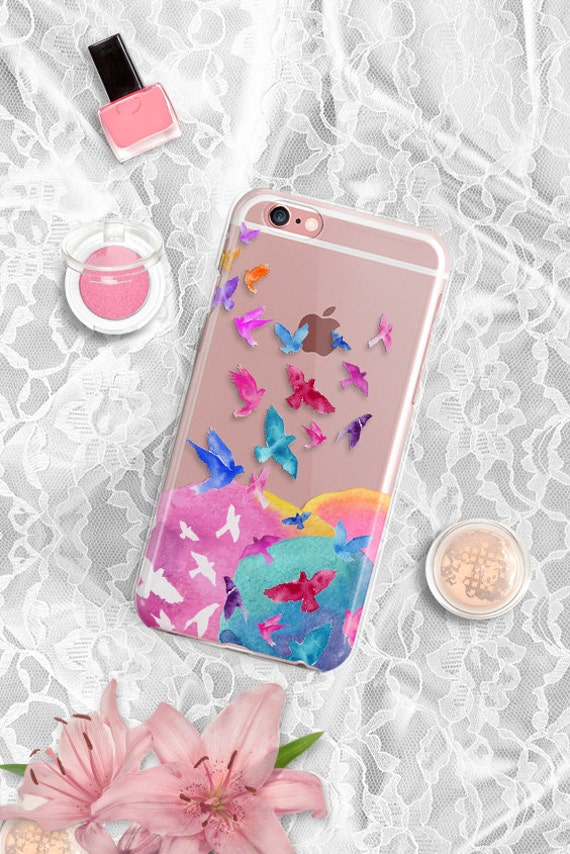 Clear Samsung S6 Case Floral iPhone 6S Case Clear iPhone Case Birds Rubber iPhone 6 Plus Case Clear iPhone 5 Case Clear iPhone 6S Plus Case
