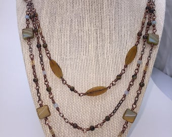 Triple Layer Blue and Brown Necklace