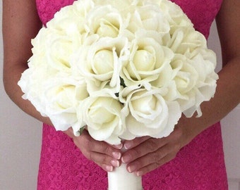 Large Cream Real Touch Rose Bouquet, Real Touch Bouquet, True Touch Bouquet, White Real Touch Rose Bouquet, White Wedding Bouquet, Bridal Bo