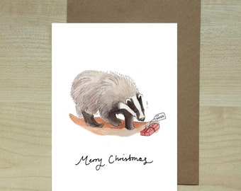 Badger's Present christmas card
