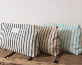 Make Up Bag - Cosmetic bag - Travel Bag - Stripes - Nautical