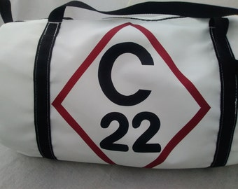 Catalina 22 duffel bag, Capri 22, recycled sail duffle, zipper top sail bag, weekend bag, regatta travel bag, sailing logo bag, gym bag