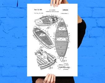 Canoe Patent, Canoe Poster, Canoe Blueprint,  Canoe Print, Canoe Art, Canoe Decor