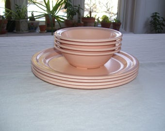 Melmac Dishes Restraware Pink Set of 8 Vintage