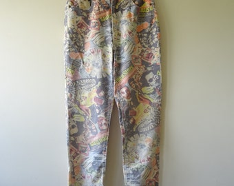 High Waist Vintage Jeans with retro print all over size small