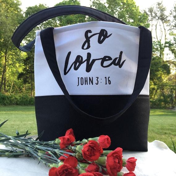 Bible Tote Bag - School Bag - Gift for Her - Gifts for Women - Teacher Gifts - So Loved Tote Bag - Bible Bag - John 3:16 - Custom Tote Bag
