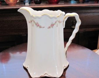 Vintage White and Gold Porcelain Pitcher