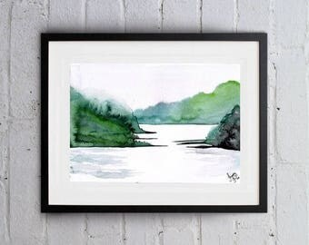 Forest lake Print landscape watercolor painting green white print water wall art nature poster cottage decor countryside mountain artwork
