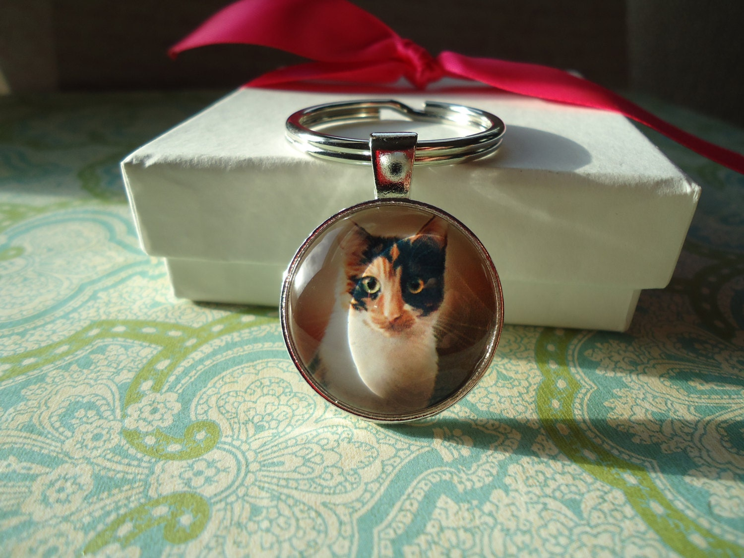 Keychains Lanyards Circuit Board Glass Pendant Photo Necklace Keychain Calico Cat Silver Round Domed Or I Love Cats Key