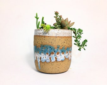 Succulent Planter -midcentury inspired-handmade gifts-ceramic planter-gardening-succulents- READY TO SHIP
