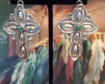 Native American sterling silver turquoise cross earrings